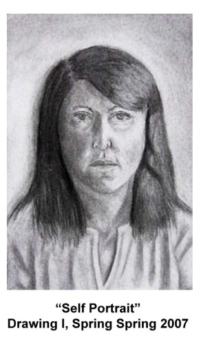 Self Portrait- Drawing I- College, 2007